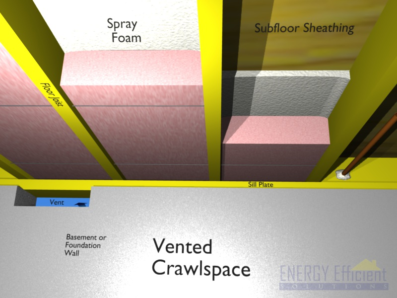 crawlspace without stud wall